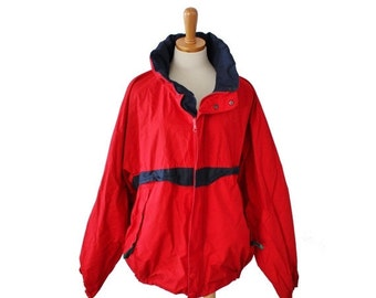 CIJ 40% off sale // Vintage 90s Nautica Reversible Red and Blue Coat  - Men XL - hip hop, sailboat