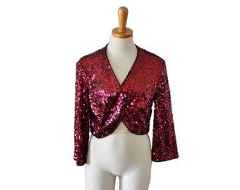 CIJ 40% off sale // Vintage 80s Burgundy Sequin Shrug // cropped fit // Women S M, R&K Originals
