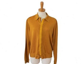 50% half off sale // Vintage 60s Golden Mustard Cardigan // men L // Clubman, mod, retro