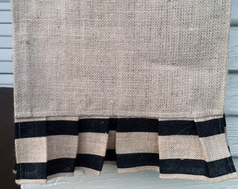 Burlap Table Runner - Double Stripes in Black, 14 x 72 inches, best used for 5 ft table