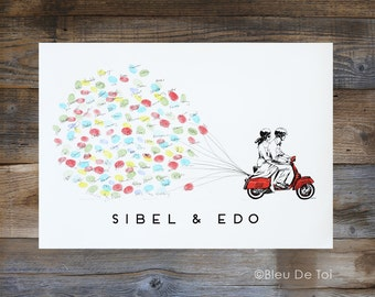 Red Scooter with Balloons, Thumbprint balloon, guest book alternative, similar to Wedding Fingerprint Tree  (ink pads available separately)
