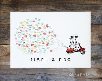 Thumbprint guestbook, Wedding guest book alternative, Red Vespa Scooter with Balloons, Thumbprint balloon, guest book alternative