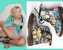 Sienna Miller's Vtg Floral Flower Dr Doc Martens Leather Combat Boots US 5 UK 3 Euro 35 Liberty Print