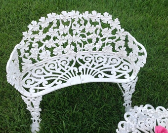 CHIPPY GARDEN PATIO Settee / Cast Aluminum Settee Only / shabby Chic Settee / White Chippy Settee Cottage Style at Retro Daisy Girl