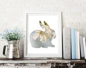 bunny print in light blue, bunny silhouette, 8x10 rabbit print, animal nursery decor, easter bunny print, cherry blossom photo, spring print