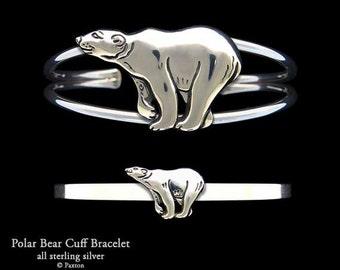 Polar Bear Bracelet Sterling Silver Polar Bear Cuff Bracelet Handmade