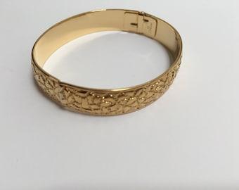 Monet Gold Tone Metal Clamper Bracelet