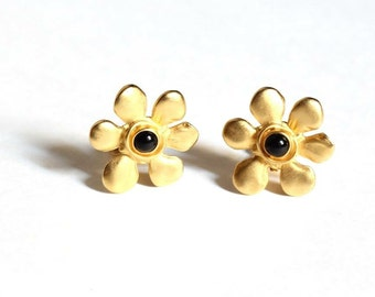 Karl Lagerfeld Earrings Matte Gold Flower Clips 1990s