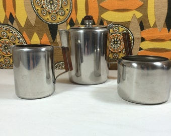 Retro Vintage 1960s Stainless Steel Tea Set 18-8 Wooden Handle Campervan Camping