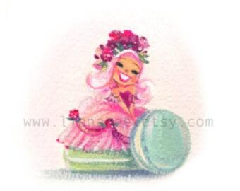 Miss Macaron fine art mini print