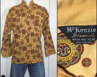 1960's cotton patterned Pajamas top Nehru collar Yellow Ochre printed Circle Square patterned McKenzie Imperial size B