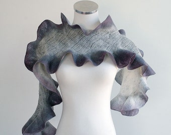 Ruffled handfelted scarf, hand dyed in gray, charcoal, purple silk and wool