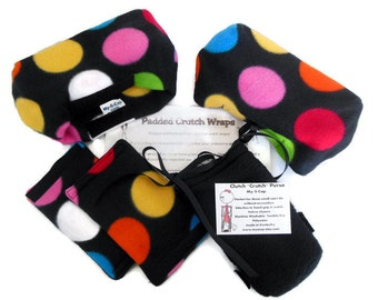"Fleece Crutch Pads: Colorful Circles on Black | 2"" Bounce Back Padding Crutch Cover 