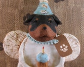 Rottweiler Birthday Angel,OOAK, hand-sculpted from papier mache, Rottweiler Birthday Angel