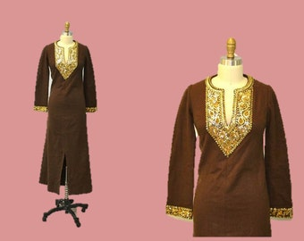 Festival Tunic dress maxi ethnic  chocolate brown wool with gold sequins hipster Ingridiceland vintage
