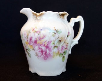 Antique Shabby Chic Pink Roses Pitcher