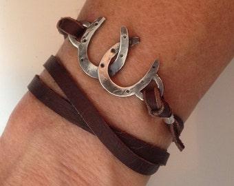Double Horseshoe leather wrap bracelet, cowgirl jewelry, horse lover jewelry, horse and rider jewelry