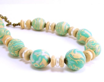 Beaded Necklace with Matching Free Earrings, Mint Pale Yellow and Pearl