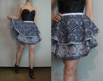 SaLE Handmade OOAK Black & Gray High Waisted DAMASK Asymm Tiered Ruffled Mini Skirt w/ Zippers xs Small