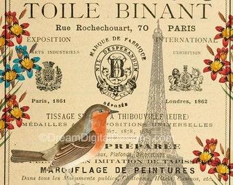 Printable French Decor, Vintage Paris Download, Printable Art, French Ephemera with Bird, Digital Background