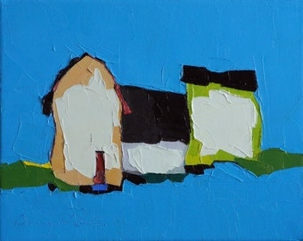 Electric Blue- Oil Painting, 8x10, On Canvas, Original Landscape Painting- Farmhouse