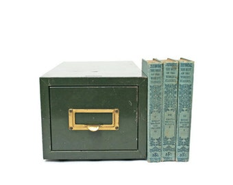 Vintage File Drawer / Green Metal File Box for Industrial Storage / Home Office File Cabinet