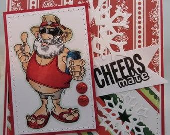 Handmade Card, Greetings, Gift, Christmas, Winter, Christmas Aussie Santa -  Handmade Greeting Card
