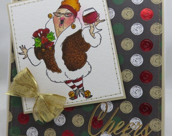 Handmade Card, Greetings, Gift, Christmas, Occasions, Art Impressions - Christmas Cheers Wine Lady