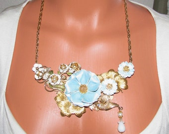 Upcycled Vintage jewelry Necklace, shabby chic-Turquoise, White and Gold Flowers-Gift
