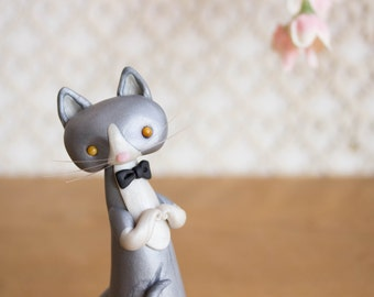 Grey and White Tuxedo Cat Figurine - Dilute Tuxedo Cat Art by Bonjour Poupette