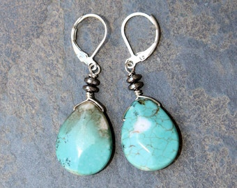 Aqua Earrings, Natural Stone Earrings, Magnesite Earrings, Blue Earrings, Dangly Earrings, Boho Earrings, Fall Earrings, Teardrop Earrings