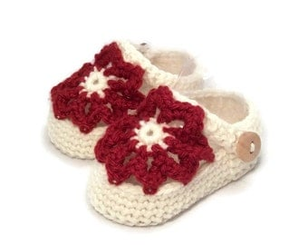 Baby Sandals Crochet Baby Shoes Red Merino Wool Baby Slippers Knitted Baby Shoes Red Baby Booties Girl Baby Gift by Warm and Woolly on Etsy