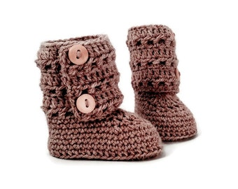 Brown Crochet Baby Booties Merino Wool Newborn Crib Shoes Baby Slippers Knitted Baby Booties Girl Baby Gift by Warm and Woolly on Etsy