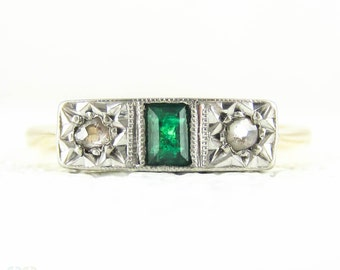Antique Emerald & Diamond Engagement Ring. Three Stone Ring with Deep Green Emerald and Old Cut Diamonds. Circa 1910s, 9ct Gold.