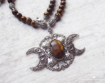 Triple Moon Goddess .:.  Tiger's Eye Gemstone Beaded necklace -- ornate aged silver filigree, tigers eye gemstone beads