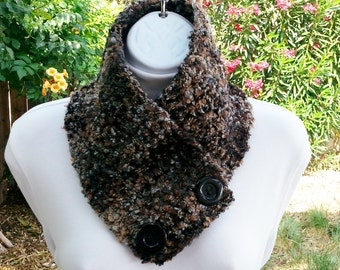 Crochet NECK WARMER Scarf, Buttoned Cowl, Brown Black Ice Blue Gray Grey, Two Large Buttons, Handmade Boucle' Knit Scarflette..Ready to Ship
