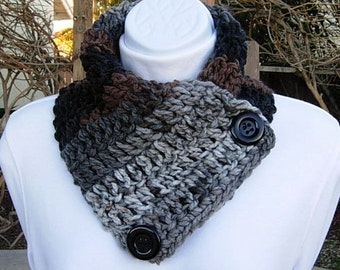 NECK WARMER SCARF Black Gray Grey Dark Brown, Black Buttons, Soft Acrylic Crochet Knit Buttoned Cowl Scarflette..Ready to Ship in 2 Days