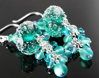Aqua Emerald Earrings Sterling Silver Swarovski Crystal Teal Lampwork Sea Glass Earrings Blue Green Earrings Frosted Sugar Artisan Jewelry