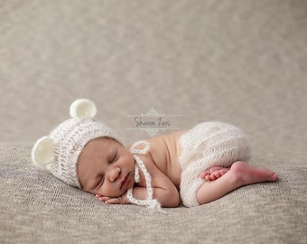 Cream Mohair Teddy Bear Hat and Shorts Set Newborn Baby Photography Prop