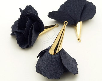 TA-012-DG / 2 pcs - Rose Petal Motivated Tassel Pendant (Dark Gray), Handmade Tassels, Flower Tassel / 45mm