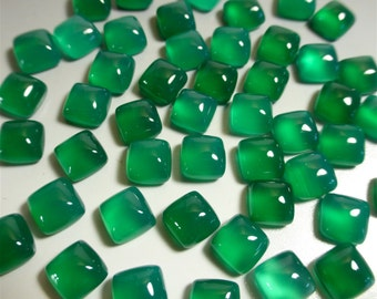 Green Onyx Cabochon - 6mm Cushion Square Cabochon - Jewelry Supplies - Designer Cabochon - GN04