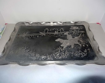 Large Stainless Steel Serving Tray Etched English Pointers Home and Garden Kitchen and Dining Tableware Serveware Serving Trays