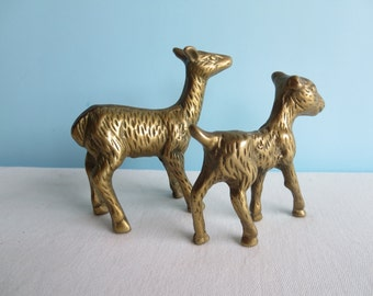 Vintage Brass Deer Pair - Small Brass Deers
