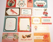 Set of 15 Coral Couture Sentiment Tags, Journaling Cards, various sizes