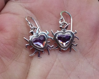sterling silver and purple crystal heart earrings