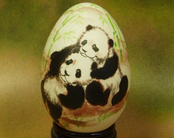 Two Baby Pandas, Green Bamboo Trees, Hand Painted Goose Egg Shell, Egg Arts