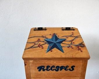 Recipe Box,Primitive Recipe Box,Rustic Recipe Box,Mother's day gift,Wooden recipe box,Primitive Kitchen,Blue Primitive Star,Recipe Holder