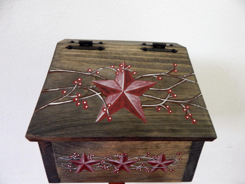 Rustic Star Kitchen Decor Recipe Boxwooden Recipe Boxprimitive Star Recipe Boxrustic