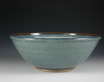Blue Soup Bowl, Ceramic Salad Bowl, Serving Bowl, Wheel Thrown Stoneware Pottery, by Douglas Bechler - B0072