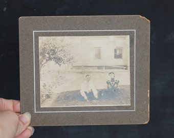 Antique Sepia Photograph | Vintage Mounted Photo | Smiling Couple